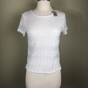 American Eagle Outfitters White Lace NWT Crop Top